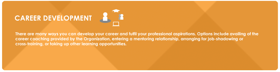 CAREER DEVELOPMENT: There are many ways you can develop your career and fulfil your professional aspirations. Options include availing of the career coaching provided by the Organization, entering a mentoring relationship, arranging for job-shadowing or cross-training, or taking up other learning opportunities.